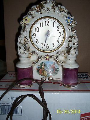 Antique Vintage Painted Porcelain Mantle Shelf Clock Made in USA 1930'S