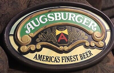 Vintage Augsburger Beer Wall Sign America's Finest Beer