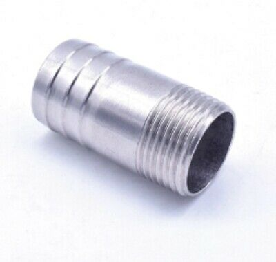 """Stainless 47mm Hose Barb Tail 1-1/2"""" BSPT Male Straight Connector Fitting Vacuum"""