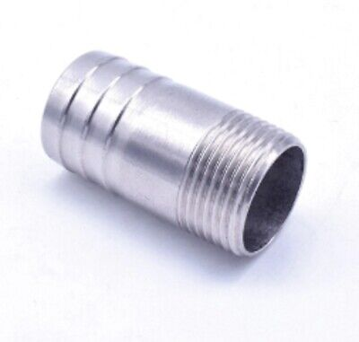 """Stainless 58.5mm Hose Barb Tail 2"""" BSPT Male Straight Connector Fitting Vacuum"""