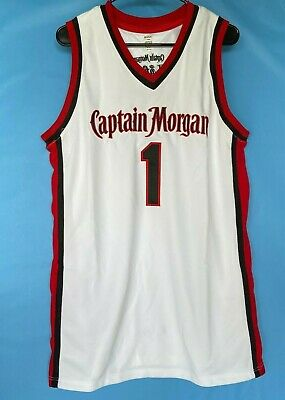 Captain Morgan Rum Red Black White  #1 Sewn Patch And Embroidered Jersey Tank L