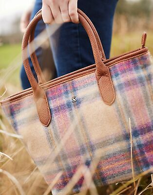 Joules Womens Carey Tweed Grab Bag in MULTI PINK CHECK in One Size