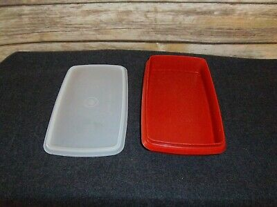 Tupperware Deli Keeper for Meat & Cheese #816 ~ Paprika sheer lid # 817