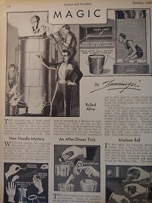 Oct 1930 Magazine Page #A142- Magic By Dunninger- Boiled Alive / Oh My!