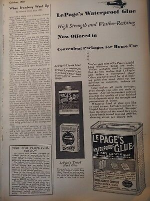 Oct 1930 Magazine Page #A143- Lepage's Waterproof Glue- High Strength