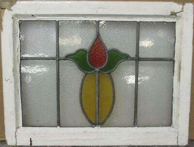 "OLD ENGLISH LEADED STAINED GLASS WINDOW Cute Simple Floral Design 22"" x 17"""