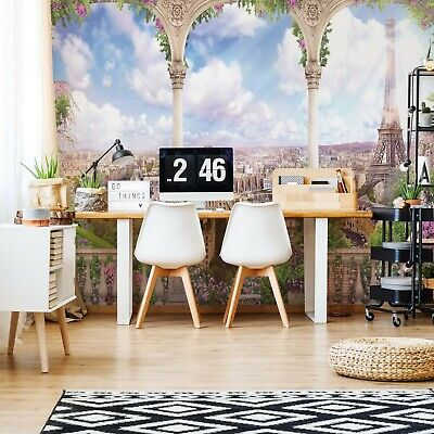 Floral Paris View Photo Wallpaper Wall Mural Fleece Easy-Install Paper