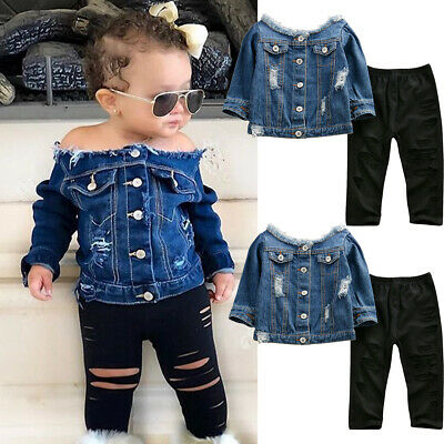 Toddler Kids Baby Girl Clothes Denim Tops Jacket Hole Pants Leggings Outfits Set