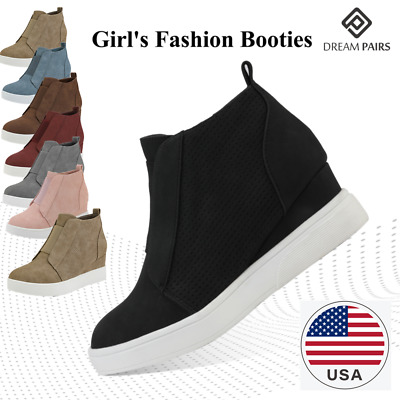 DREAM PAIRS Girl's Ankle Boot High Top Low Heel Casual Wedges Youth Girls Kids