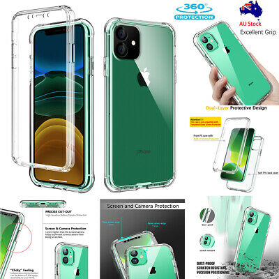 For iPhone 11 / Pro / Max 360° Full Body Heavy Duty Shockproof Clear Case Cover