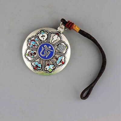 Collect Old Miao Silver Hand-Carved 12 Zodiac & Exorcism T00l Auspicious Pendant