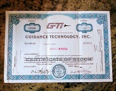 800 shares GUIDANCE TECHNOLOGY. INC stock certaficate 1980