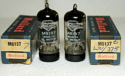 1 Super matched pair to 0.03% Mullard M8137 CV4004 E83CC Valves. Box Anode New