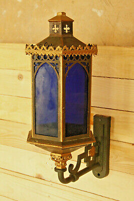 AG-016-55.15 - Alte Lampe - Achteckig - Blaues Glas - Messing / Gold