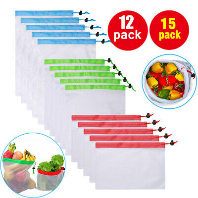 12pcs / 15Pcs Reusable Mesh Produce Bags Fruit Vegetable Storage Eco Friendly