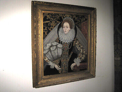 Beautiful oil painting on solid mahogany panel  ----   Queen Elizabeth I