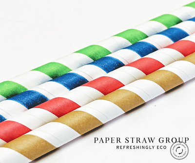 Bulk Paper Straws Trade paper straw  8mm x 200mm UK made 1000 / 5000 /1000 Eco