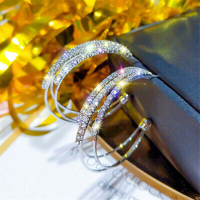 Fashion Alloy C Shape Crystal Rhinestone Hollow Hoop Earrings Women Jewelry New