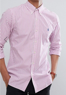 Polo Ralph Lauren Stripe Slim Fit Poplin Shirt Long Sleeve Pink Large Stretch