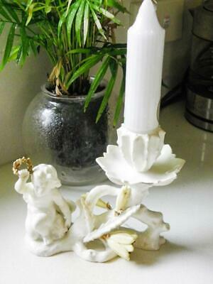 Antique Moore Bros - Candlestick with Putti & Cactus Flowers - C.1880's - RARE