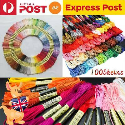 100 Colorful Cross Stitch Embroidery Egyptian Cotton Thread Floss Sewing Skein
