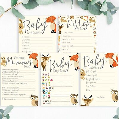 BABY SHOWER GAMES- Woodland Animals Favours Predictions Who Knows Mummy Best