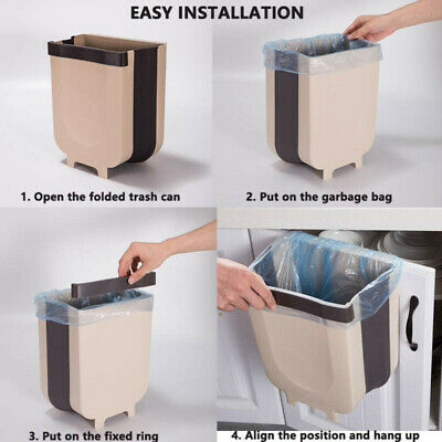 Door Back Portable Garbage Bag Holder Home Cabinet Rag Hanging Rack Trash Can SH