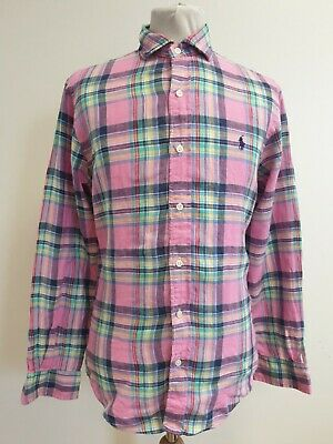 Ee466 Mens Polo Ralph Lauren Slim Fit Pink Blue Red Check L/Sleeve Shirt Uk S