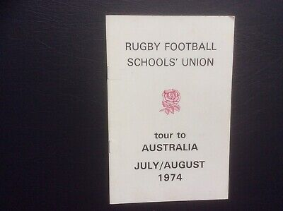 Rugby Football Schools' Union  Tour To Australia Brochure 31 Autographs 1974.