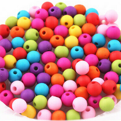 100Pcs Mixed Color Matte Bead Charms Jewelry Spacer Findings Round Beads 8mm