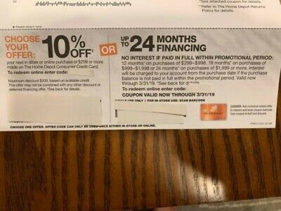 HOME DEPOT 10% OFF Coupon In-Store or Online Exp 10/30/2019