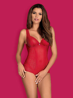 Body in pizzo rosso e tulle con perlina Rougebelle OBSESSIVE OB3406