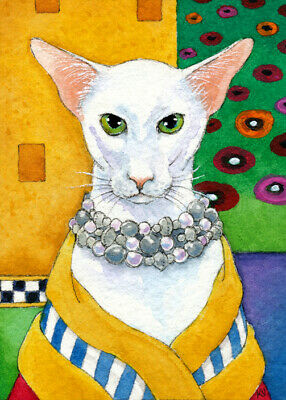 ACEO Cat Oriental Shorthair Klimt art card original watercolor ink painting KV