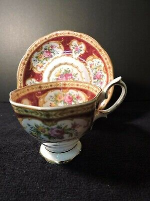 Royal Albert Lady Hamilton Burgundy Rose Floral Tea Cup & Saucer  Gold  Accent