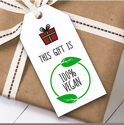 Funny 100% Vegan Christmas Gift Tags (Present Favor Labels)