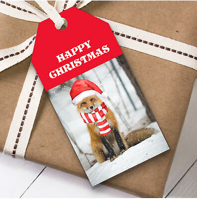 Cute Snowy Red Fox Christmas Gift Tags Present Favor Labels