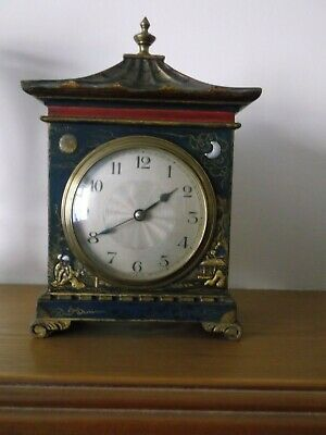 ANTIQUE FRENCH PAGODA SHAPE BLUE CHINOISERIE SUN & MOON 8 DAY MANTEL CLOCK  22cm