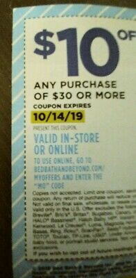 Bed Bath & Beyond Coupon: $10 Off $30 or More In Store or Online, Exp. 10/14/19