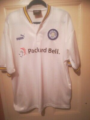 Leeds United FC - HOME Shirt - 1990s Large / excellent condition / Packard Bell