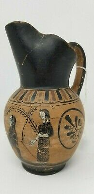 GREEK BLACK FIGURE  POTTERY ONIOCHOE 400BC (or style of) WINE JUG DETAILED PICS