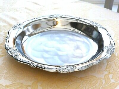 Vintage Silver Plated Floral Patterned Dish With Scalloped Edge   1410319/324