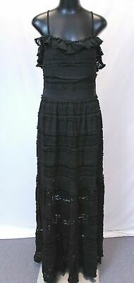 Bebe Isabel Lace Tiered Maxi Dress w/Cold Shoulder AB3 Black Size Large NWT $149