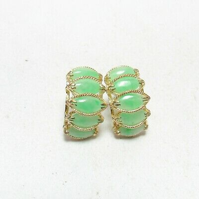 SJ LAU Estate 14K Yellow Gold Natural Marquise Green Jade Stud Earrings 5.00 Cts