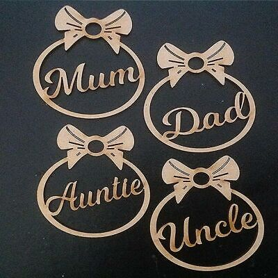 4 x Personalised Christmas Tree Decoration Baubles Gift Tags MDF Xmas Ornament