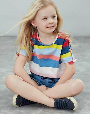 Joules Girls Liv Tie Sleeve Top 3 12 Yr in YELLOW MULTI STRIPE Size 4yr