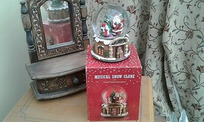 Beautiful....LARGE...SANTA SNOW GLOBE...(musical)...NEW/BOXED..