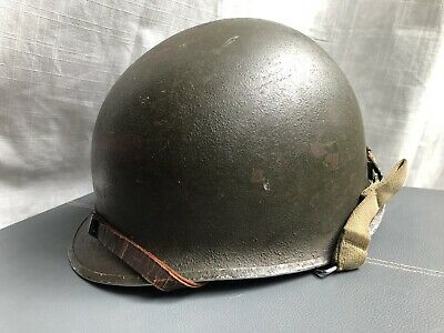 ID'ed WWII US Army M1 Combat Helmet, Front Seam Swivel Bale, Liner & Chinstraps