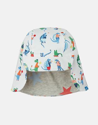 Joules Baby Sunny Reversible Hat in WHITE SPORT DINO Size 0min6m