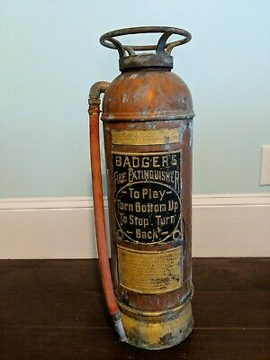"""Antique 24"""" TALL COPPER & BRASS BADGER'S FIRE EXTINGUISHER (BOSTON) with HOSE"""