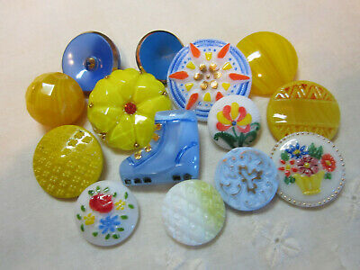Nice Lot Of Vintage Blue & Yellow Glass Buttons /Realistic Boot +